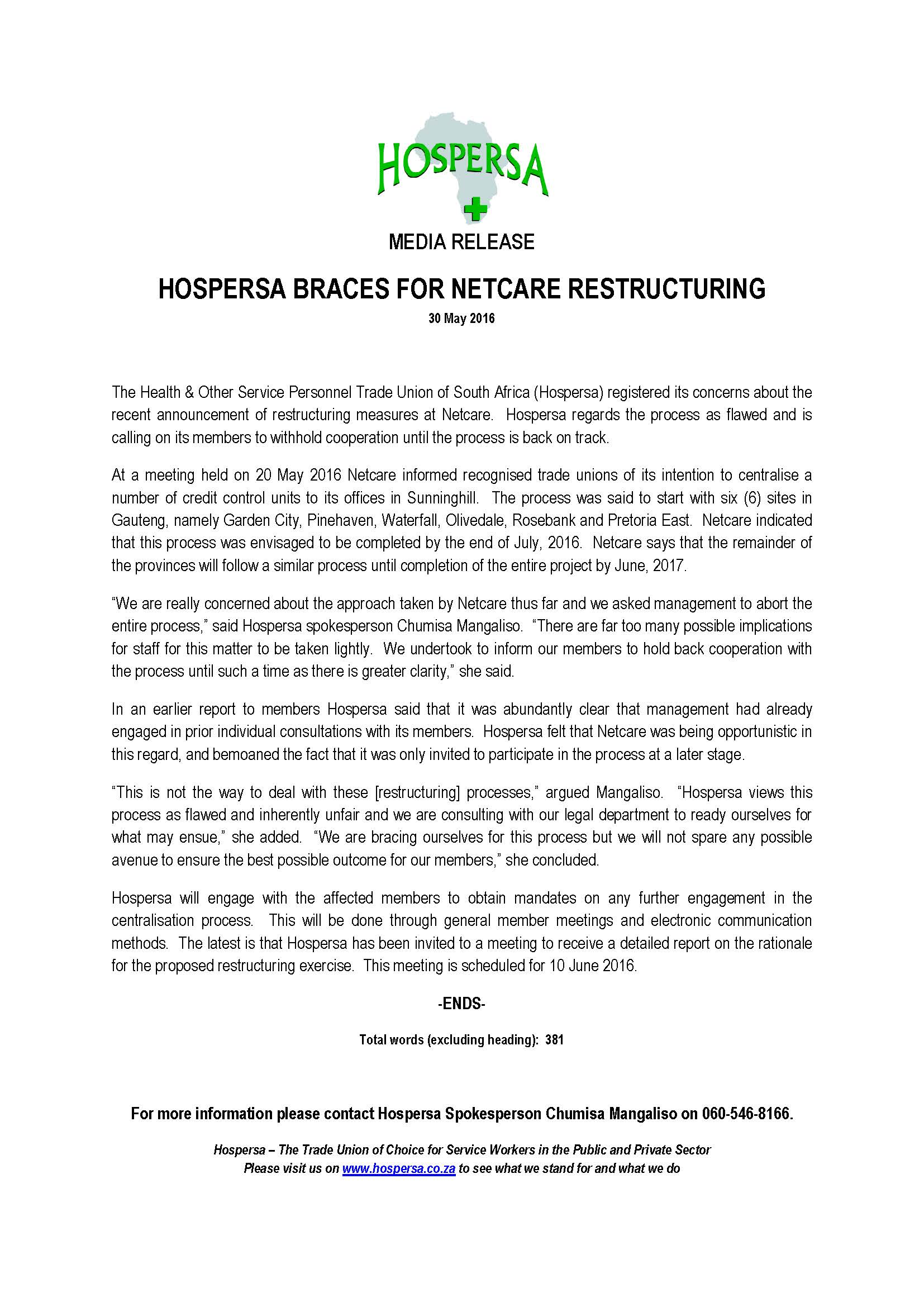 HOSPERSA BRACES FOR NETCARE RESTRUCTURING 160530